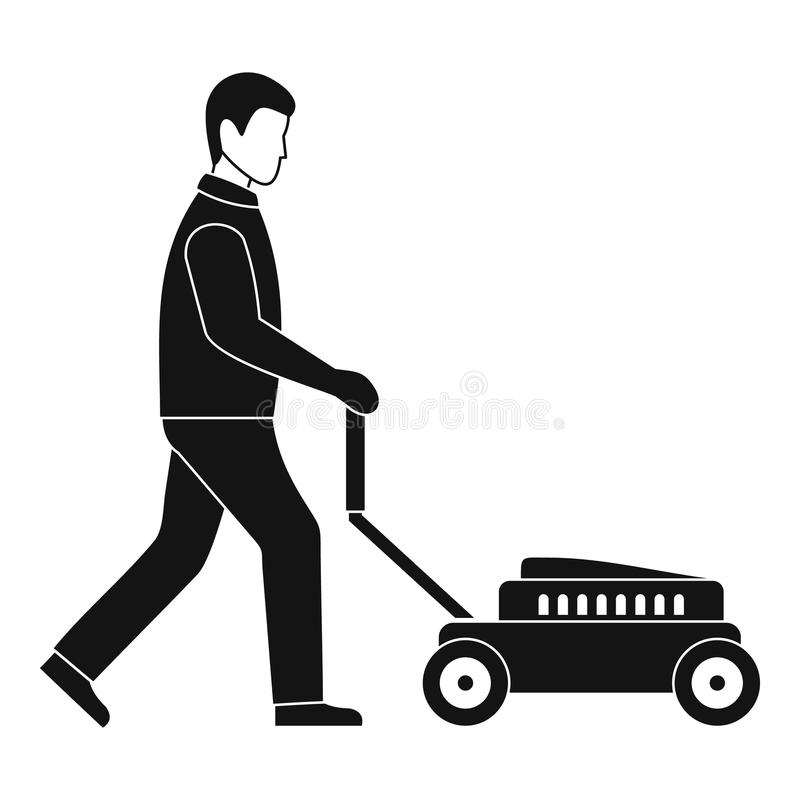 Man with lawn mower icon, simple style. Man with lawn mower icon. Simple illustration of man with lawn mower icon for web design isolated on white background stock illustration