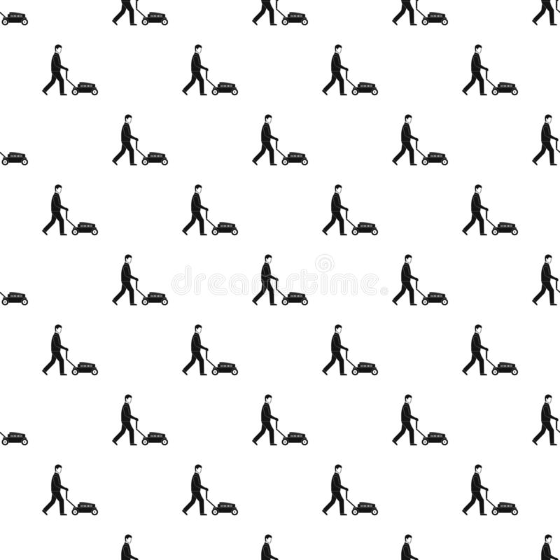 Man with lawn mower pattern seamless vector vector illustration