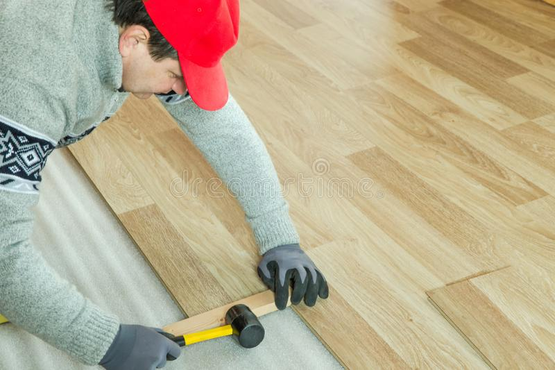 Man laying laminate flooring in construction concept stock photography