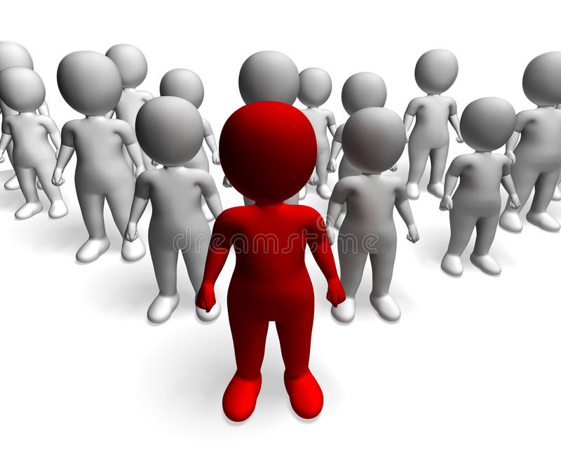 Man Leading 3d Character Showing Command And Leadership. Man Leading 3d Character Shows Command And Leadership royalty free illustration
