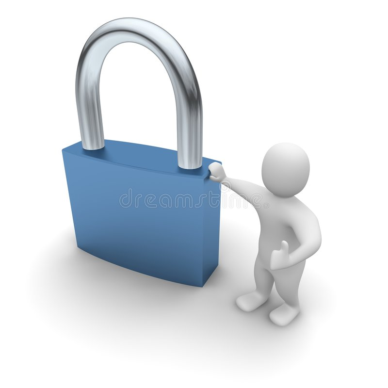 Man lean on padlock royalty free illustration