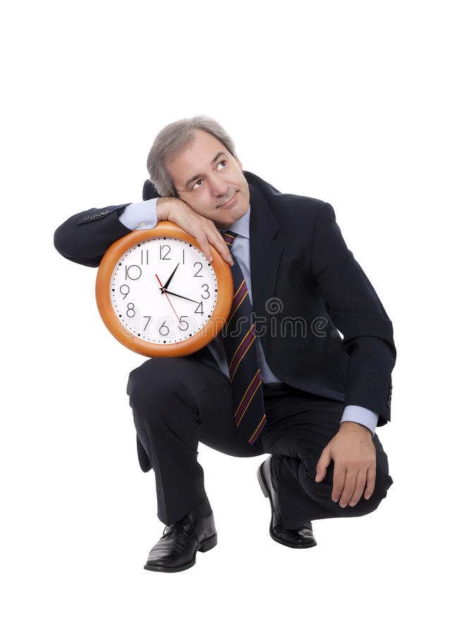 Man leaning on clock royalty free stock photo