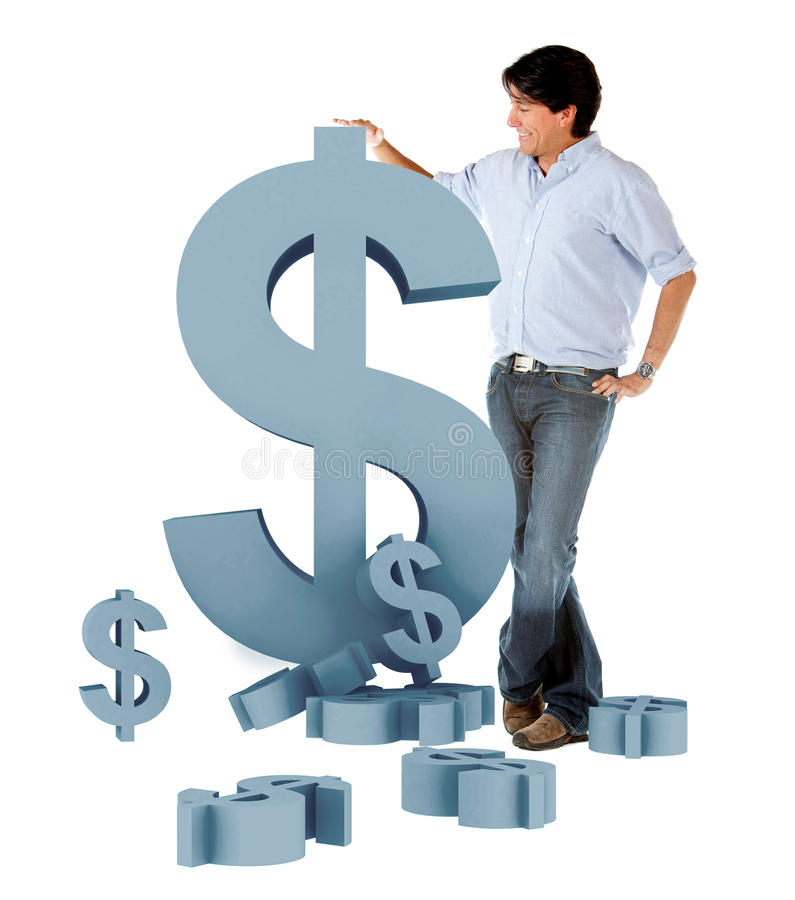 Download Man Leaning On A Dollar Symbol Stock Photo - Image: 13059674
