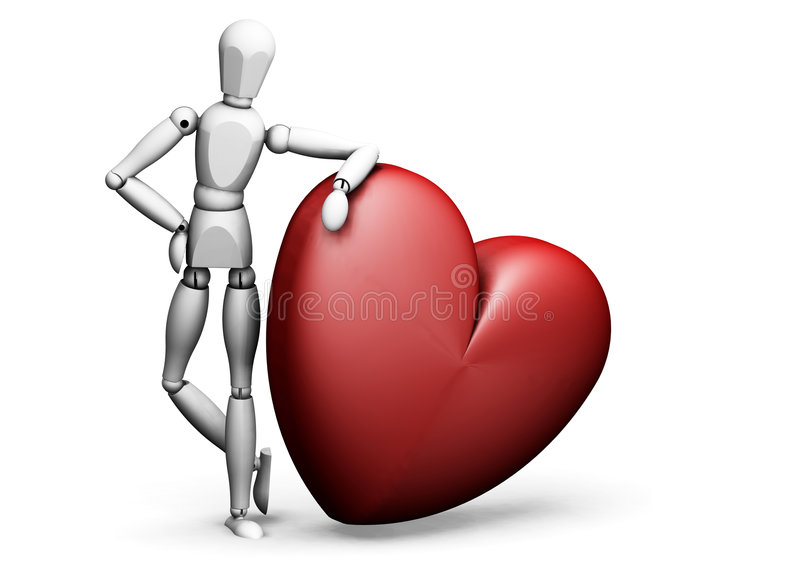 Man leaning on heart stock illustration