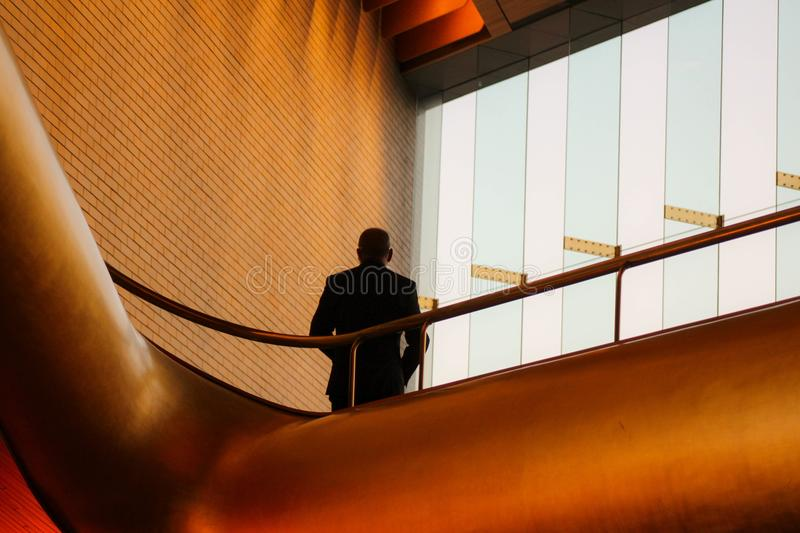 Man Leaning On Metal Balustrade Free Public Domain Cc0 Image