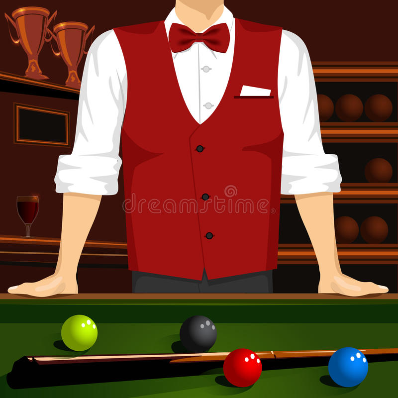 Man leaning on a pool table with cue stick and colorful billiard balls. Cropped portrait of man in red formal vest, bow tie and a white shirt leaning on a pool stock illustration