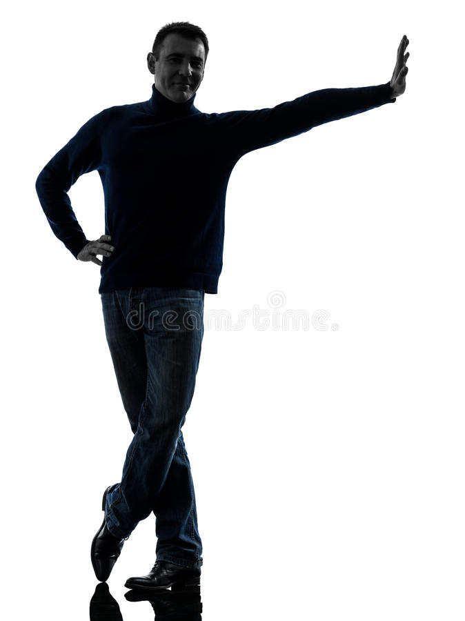 Man leaning smiling friendly silhouette stock photos