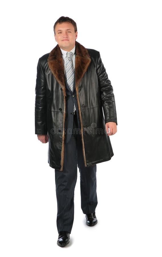 Man in leather coat