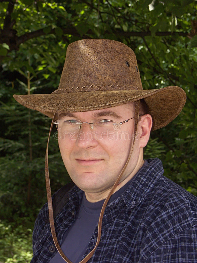 Man in leather hat stock photo