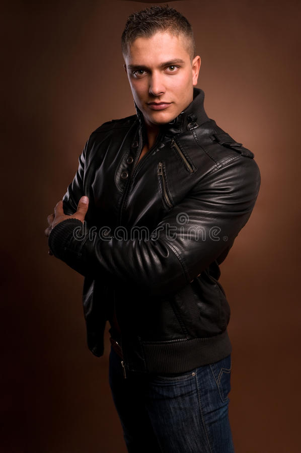 Man in a leather jacket. stock photos