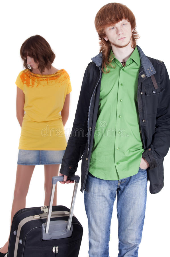 Man leaving woman royalty free stock photo