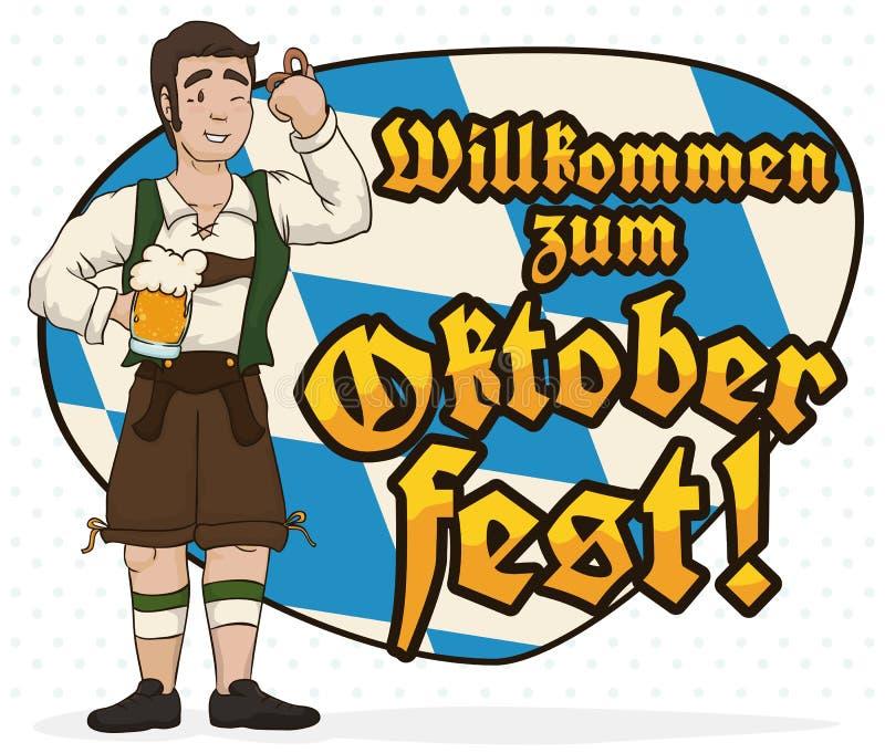 Man with Lederhosen Celebrating Oktoberfest with a Bavarian Greeting Sign, Vector Illustration stock illustration