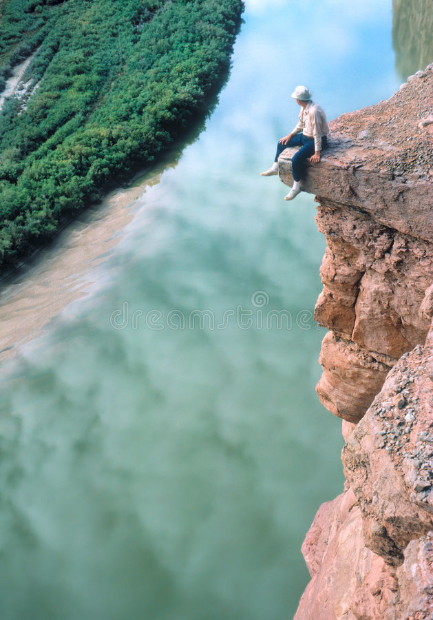 Man on a Ledge royalty free stock images