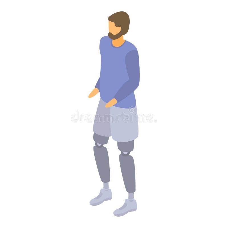 Man leg amputation icon, isometric style. Man leg amputation icon. Isometric of man leg amputation vector icon for web design isolated on white background royalty free illustration