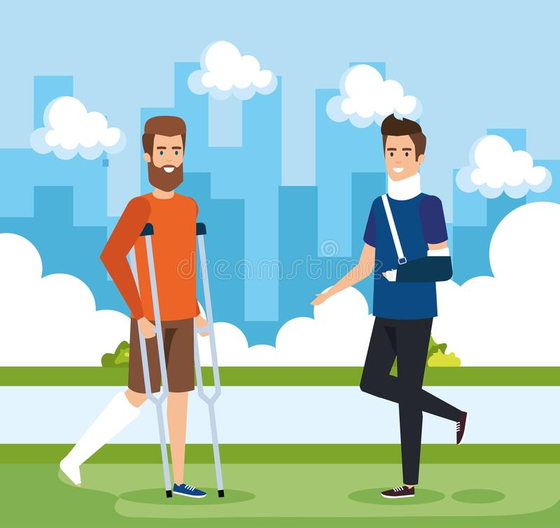 Man with leg fracture and other with hand fracture. Vector illustration royalty free illustration