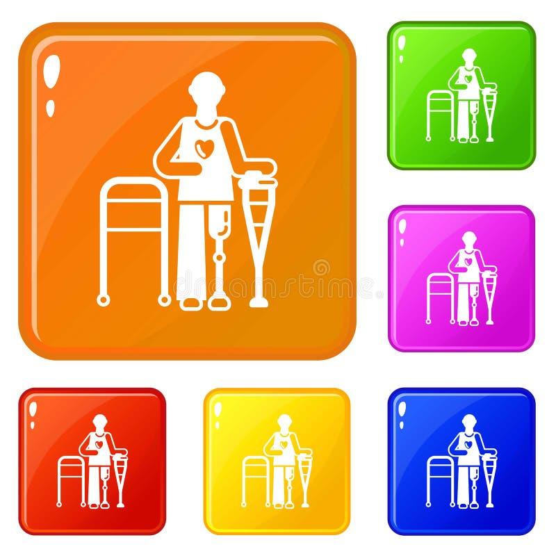 Man leg prosthesis icons set vector color. Man leg prosthesis icons set collection vector 6 color isolated on white background stock illustration