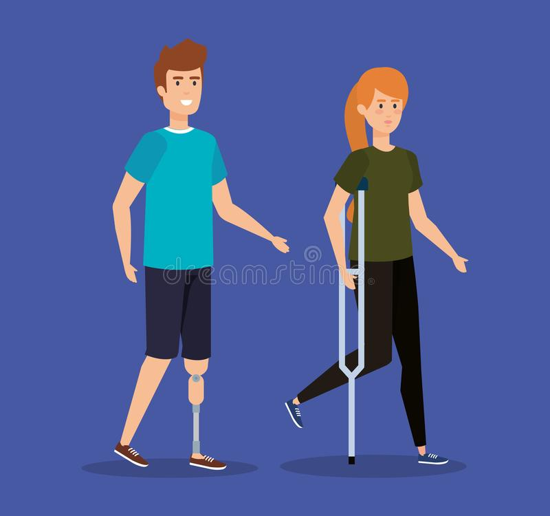 Man with leg prosthesis and woman walking with crutches. Vector illustration vector illustration