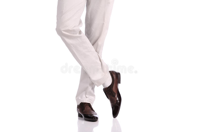 Man legs in the shoes royalty free stock photos