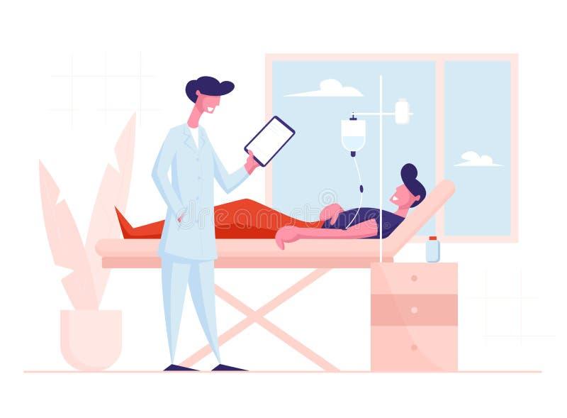 Man leker i kliniskt avdelning på sjukhus med droppbehandling Doktorn står nära patientbed stock illustrationer