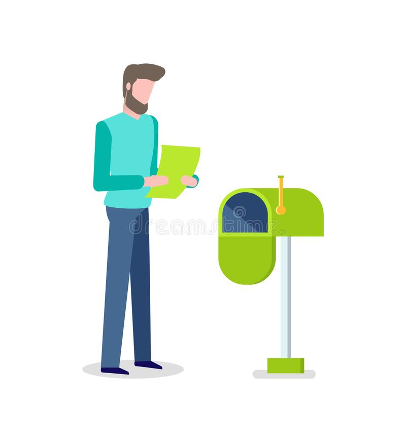 Man with Letter in Hands, Mailbox for Messages vector illustration