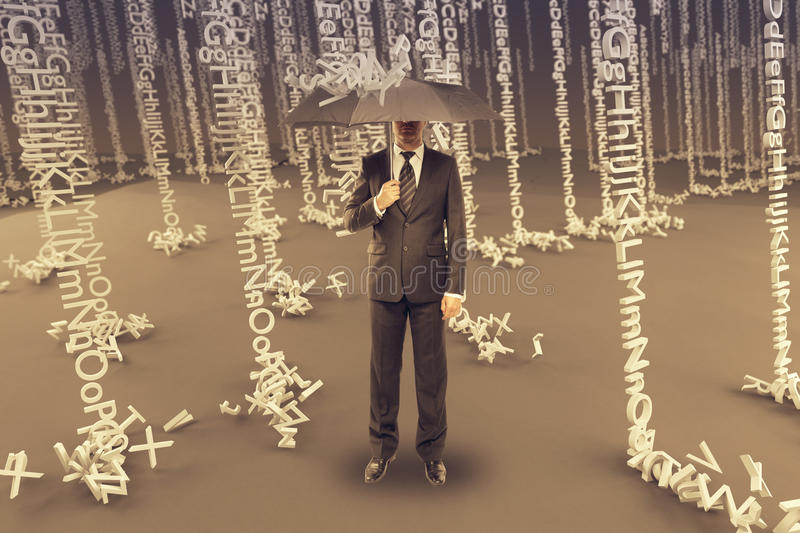 Man in letter rain. Businessman with umbrella in abstract letter rain stock photo