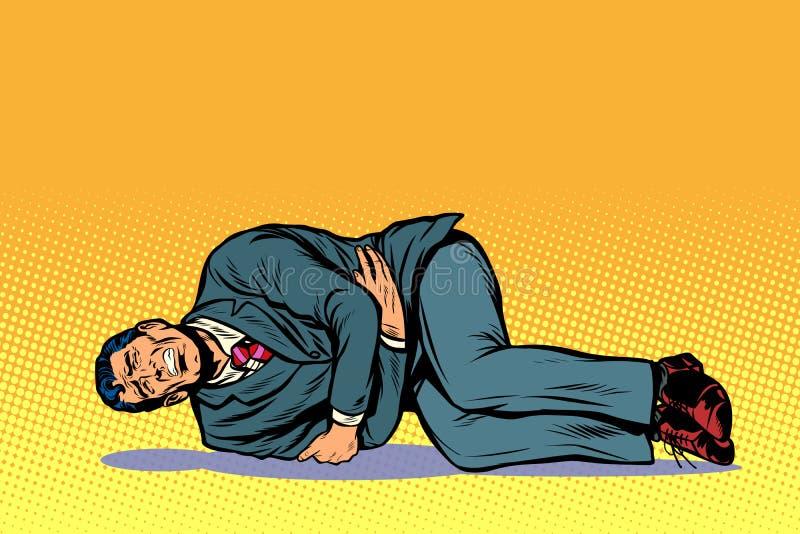 Man lies hurts stomach. Pop art retro vector illustration comic cartoon kitsch drawing royalty free illustration