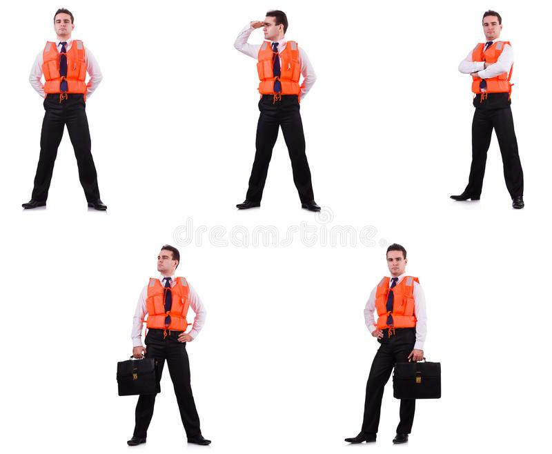 The man in life-jacket isolated on white stock photo