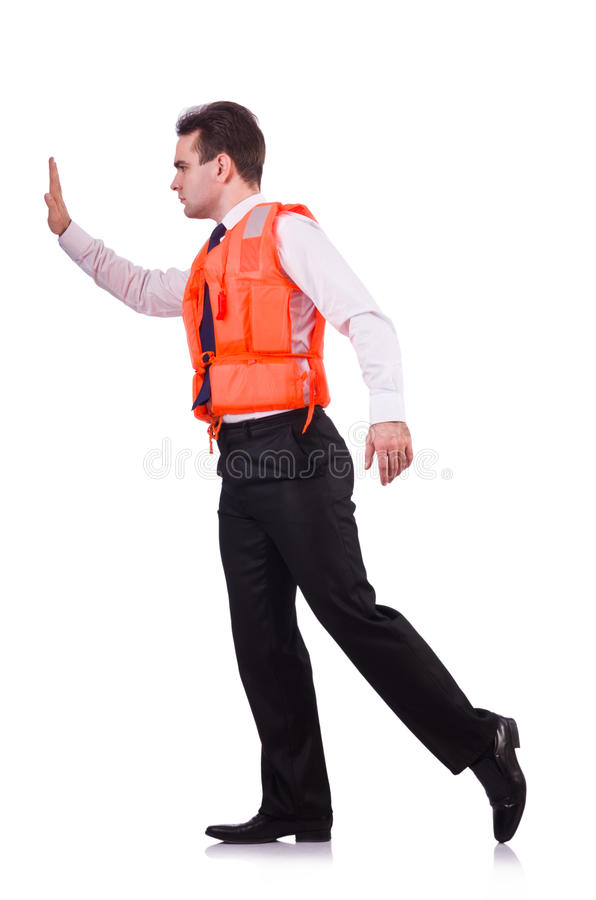Man in life jacket. Isolated on white stock images