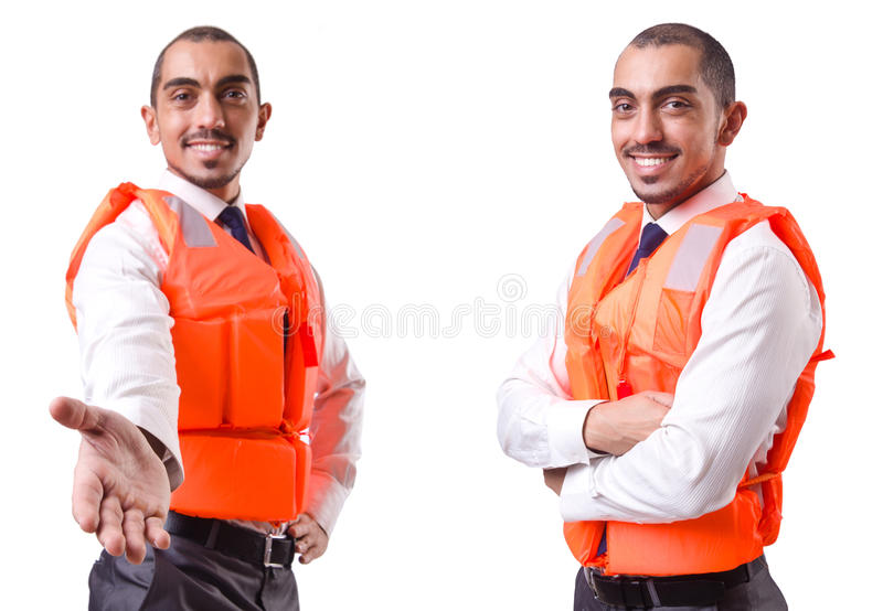 The man in life jacket isolated on white. Man in life jacket isolated on white royalty free stock photos