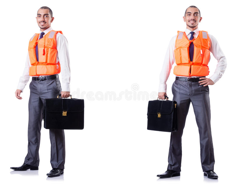 The man in life jacket isolated on white. Man in life jacket isolated on white stock photography