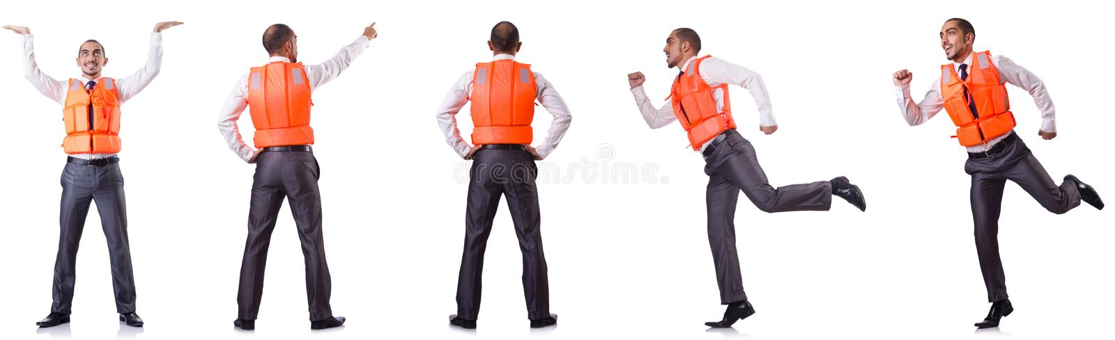 The man in life jacket isolated on white. Man in life jacket isolated on white stock photos