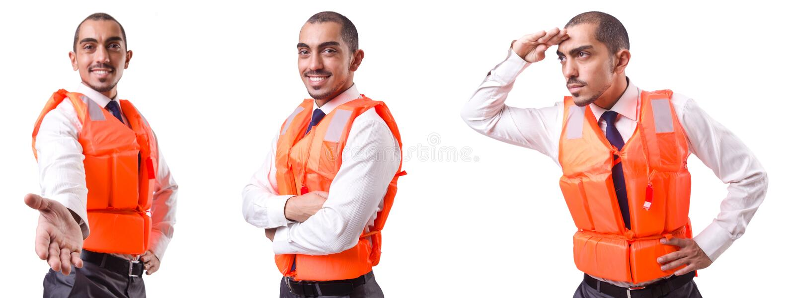 The man in life jacket isolated on white. Man in life jacket isolated on white stock image