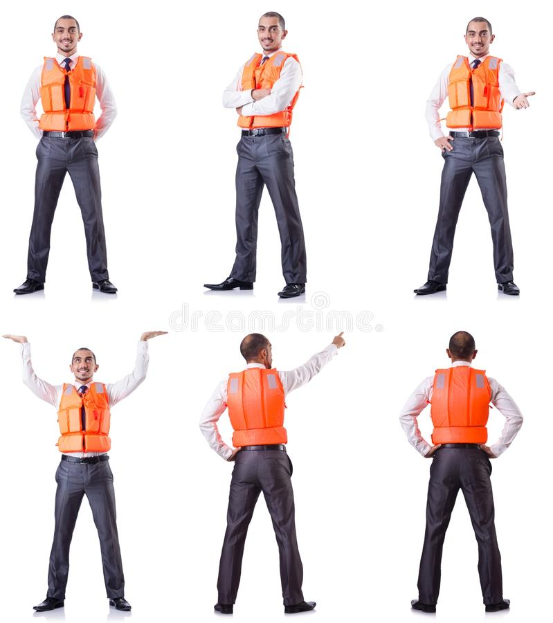 The man in life jacket isolated on white. Man in life jacket isolated on white royalty free stock photography