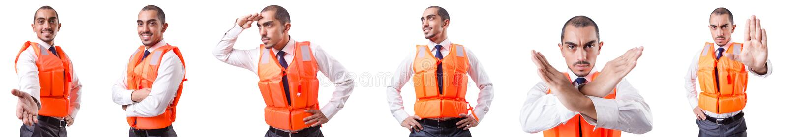 The man in life jacket isolated on white. Man in life jacket isolated on white royalty free stock photo