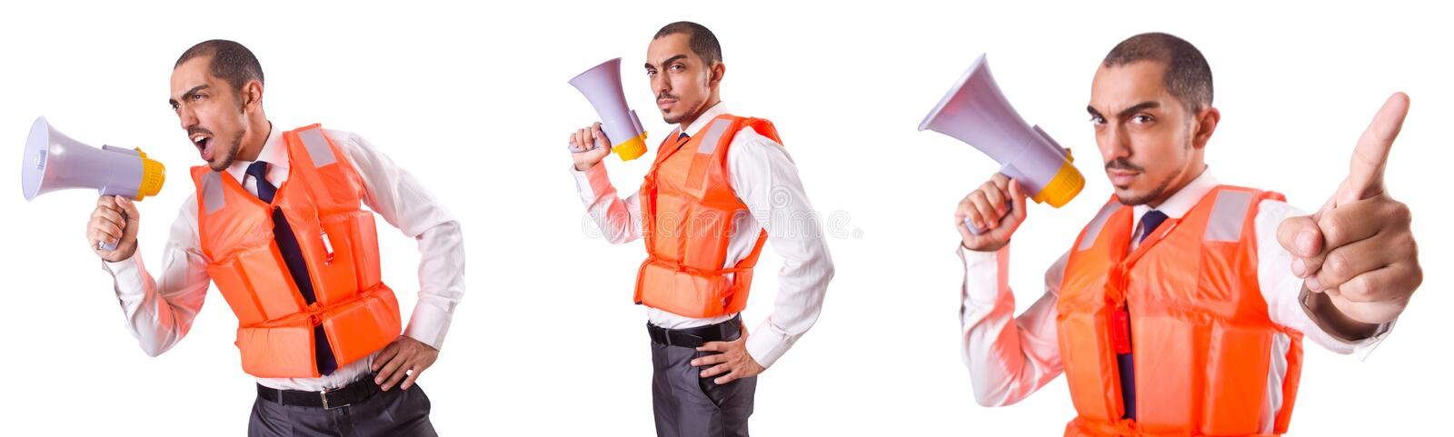 The man in life jacket isolated on white. Man in life jacket isolated on white stock photo