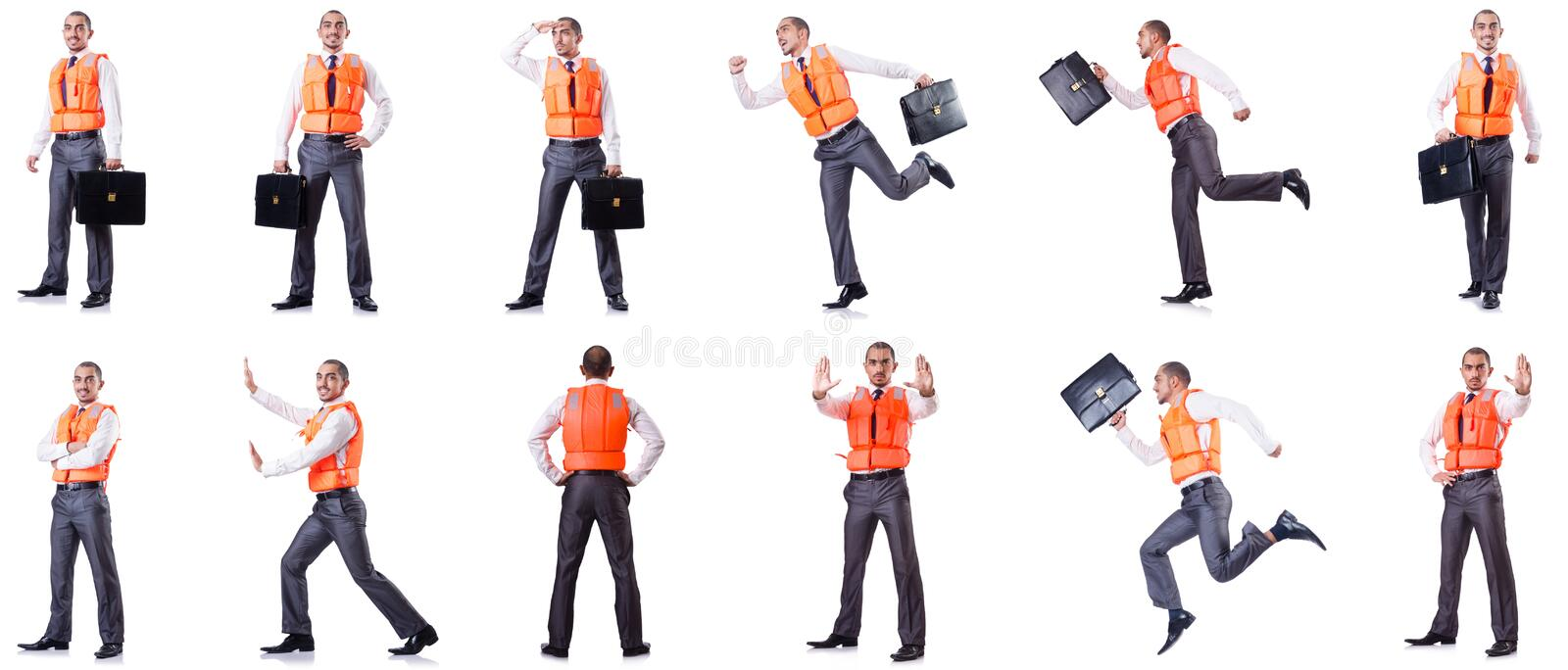 The man in life jacket isolated on white. Man in life jacket isolated on white royalty free stock image
