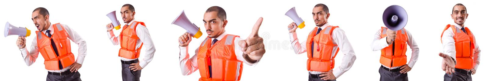 The man in life jacket isolated on white. Man in life jacket isolated on white stock images