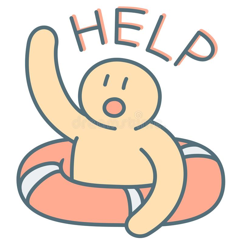 Man in lifebuoy call for emergency help vector illustration stock photo