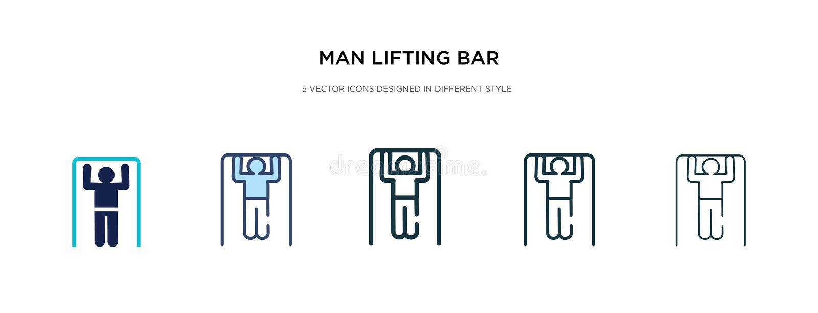 Man lifting bar icon in different style vector illustration. two colored and black man lifting bar vector icons designed in filled royalty free illustration