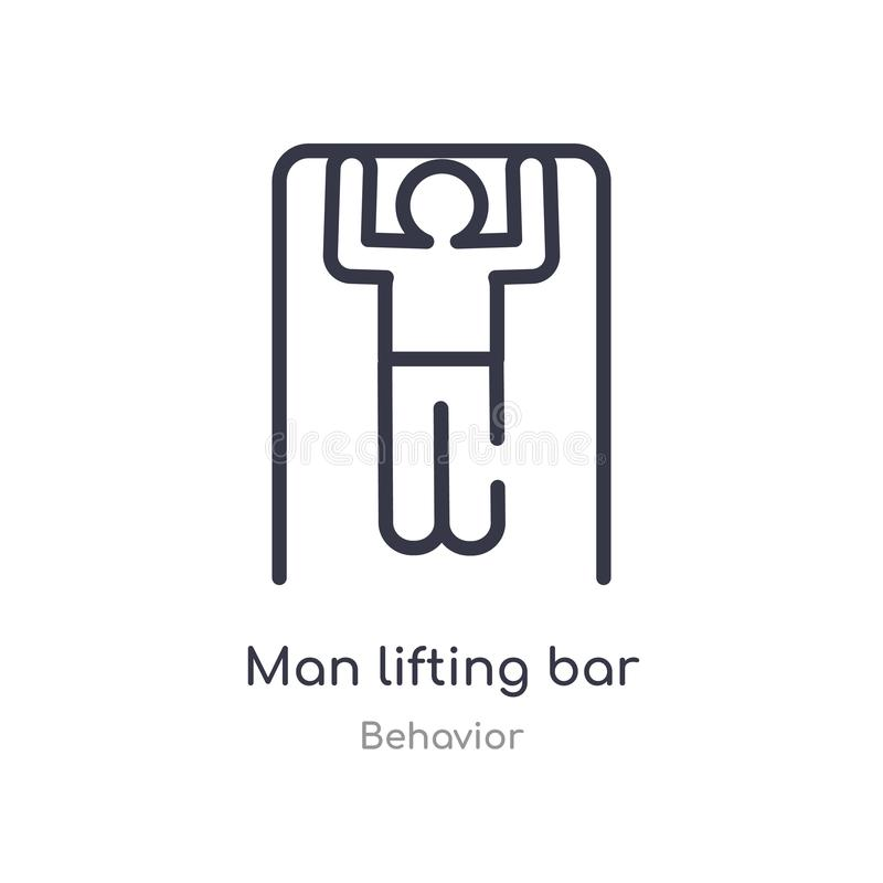 man lifting bar outline icon. isolated line vector illustration from behavior collection. editable thin stroke man lifting bar vector illustration