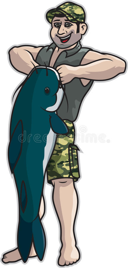 Download Man Lifting Catfish stock vector. Illustration of sideburn - 43177112