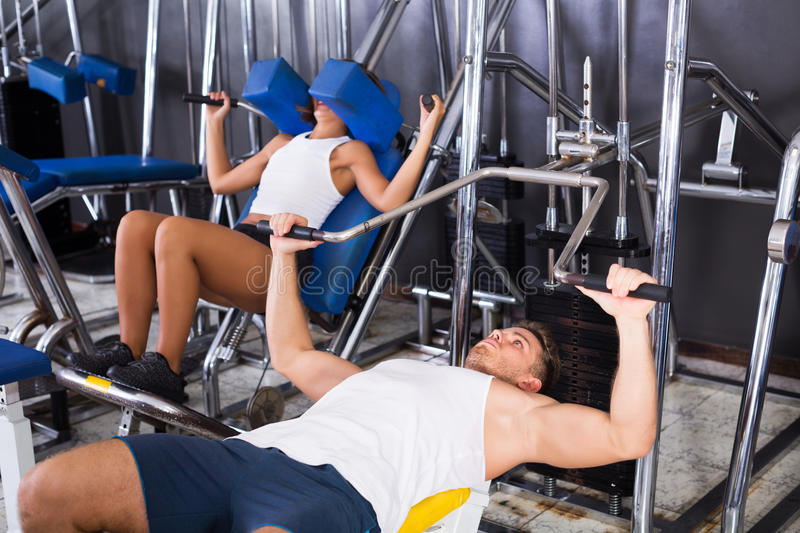 Download Man Lifting Heavy Weights In Press Stock Photo - Image: 83701806