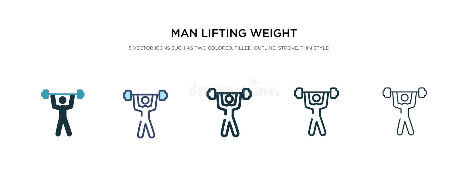 Man lifting weight icon in different style vector illustration. two colored and black man lifting weight vector icons designed in royalty free illustration