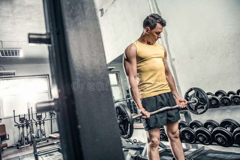 Man lifts curl barbell royalty free stock photos