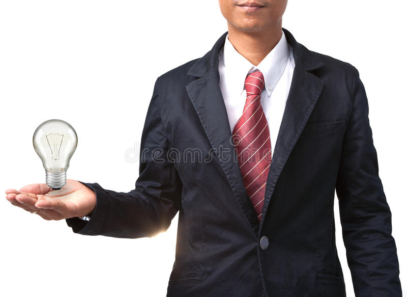 Man and light bulb on hand isolated white stock photography