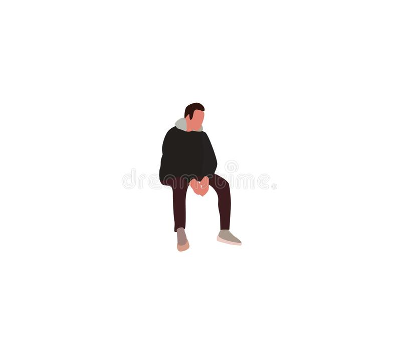 Man in light overcoat sits hands clasped stock photography