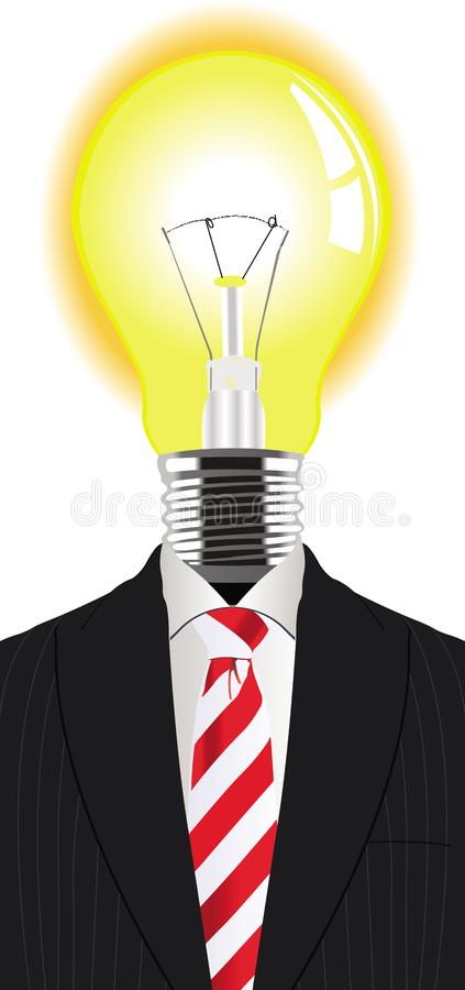 Man with a lightbulb instead of the head stock images