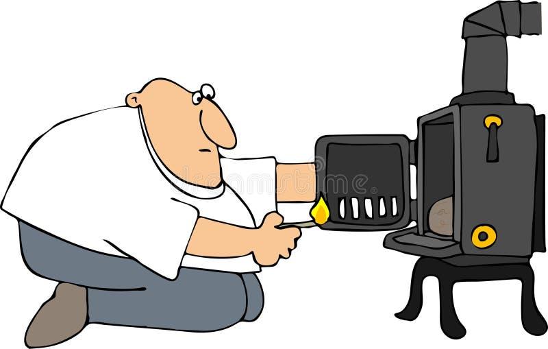 Download Man Lighting A Wood Stove stock illustration. Image of stove - 24230522