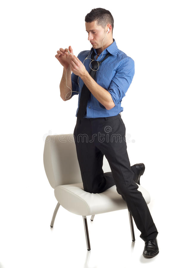 Download Man listen mp3 player stock photo. Image of attractive - 13308542