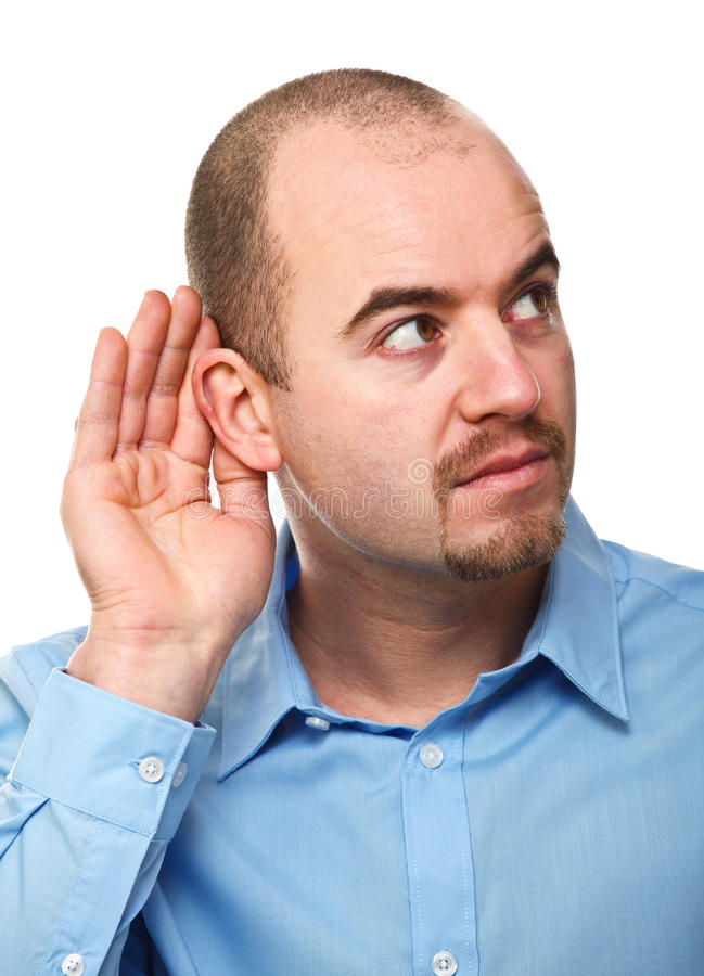 Man listen pose royalty free stock photos